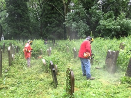 Cutting the vegetation in oswiecim Jewish cemetery