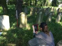 Recording matzevah in Oswiecim Jewish Cemetery (Photo Credit: Dr Caroline Sturdy Colls)