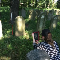 Recording matzevah in Oswiecim Jewish Cemetery (Photo Credit: Dr Caroline Sturdy Colls)